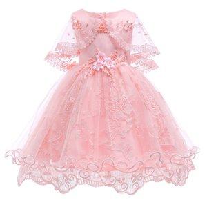 Девочки Платья принцессы День рождения Одежда для девочек Pearl цветок без рукавов Свадебное платье бальное платье для девочки Детские Y19061303