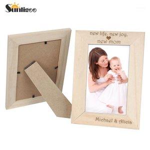 Sunligoo 1x محفورة DIY غير مكتمل الخشب إطار الصورة 5x7 بوصة قابلة للتخصيص صورة إطار الصورة عرض سطح المكتب مع كرافت box1
