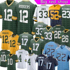 12 Aaron Rodgers 33 Aaron Jones Jersey JAIRE Alexander Davante Adams Love Brett Favre Darnell Savage Rashan Gary 22 Derrick Henry Futbol