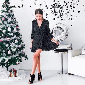 Dicloud v neck sexy polka dot black mini dress vintage spring winter women long sleeve wrap dress elegant party dresses ladies T200623