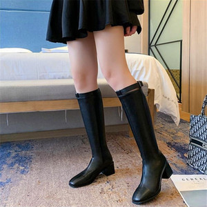 Autumn and winter boots women 2020 new high quality women's boots with velvet thick heel belt buckle but knee