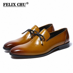 New Buckle Strap Flats Loafers Shoes Men Slip On Pointed Toe Genuine Leather Dress Footwear For Male Brown Size 39 46 Mens Casual Shoe 2Okh#