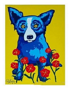 Hot 6f George Rodrigue Blue Dog Spring Is Here High-Quality handpainted &HD Print Oil painting Home Decor Wall Art on Canvas Multi Sizes137