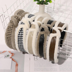 High-End Lady Sponge Headband Wide-Sided Fashion Handmade Woman Hair Band Girl PU Plush Winter Chinese Hair Stick Accessories