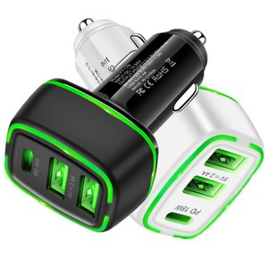 Quick Charger 18W PD Type c 3 Usb Ports Led Car Charger Power Adapter For Iphone 7 8 11 12 Samsung Tablet PC Gps