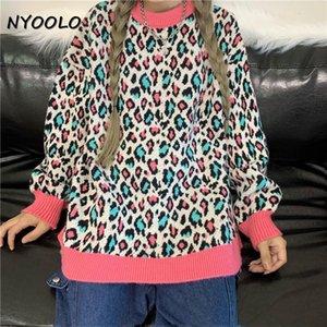Nyoolo Vintage Streetwear Leopard Patchwork Patchwork à manches longues épaisses Pulls tricotés chaudes Femmes hiver lâche tricots hauts