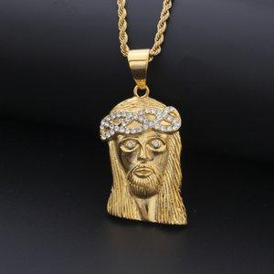 New Mens Hip Hop Colar jóias de aço inoxidável Moda Pedaço Jesus Colar Pingente de ouro de alta qualidade Colar