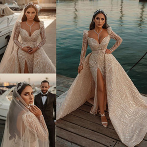 Luxury Mermaid Wedding Dresses V Neck Long Sleeves Lace Split Bridal Gowns Custom Made Sexy Backless Detachable Train Wedding Dress