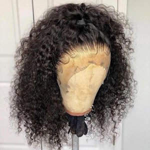Derin Kıvırcık Kısa Bob Peruk 13x6 Dantel Ön İnsan Saç Peruk Brezilyalı Tutkalsız 360 Dantel Frontal Peruk Sahte Saç Derisi Tam Bitiş Dolago Peruk