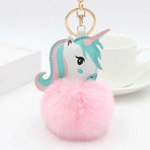 A001 35 styles unicorn pompon keychain faux rabbit fur ball licorne key chain horse porte clef pompon bag car keying key holder