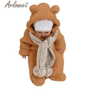 ARLONEET clothes newborn baby girls winter coat Cartoon beer zipper romper Jumpsuit Hooded outerwear baby coat boy outerwear Y200919