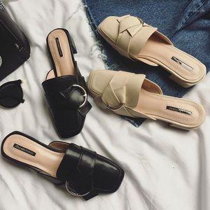 Mules shoes woman flip flops square toe sandals low heels slipper buckle design slides bid bow design flip flops belt buckle20171