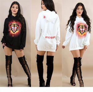 Autumn T shirt Hooded Dress Fashion White Black Tiger Print Hoodie Dress Winter Casual Loose Mini Dresses For Women