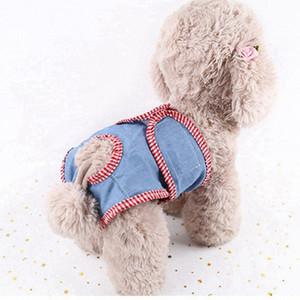 Kadın Köpek q4Q4 için # Pet Denim Sıhhi Pantolon Fizyolojik Sıhhi Brifing Ekose İç Köpek Bezi