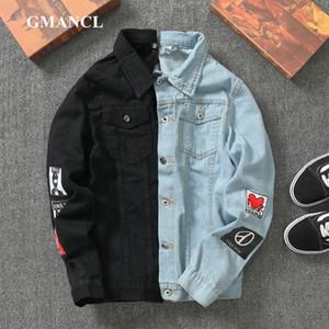 Men Streetwear badge printed Jeans Jackets Fashion Hip hop male motorcycle Casual Slim Fit Denim coat Outerwear Plus Size 5XL 201014