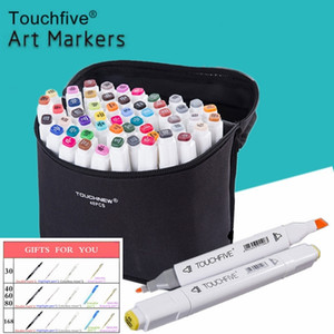 TouchFive 30406080Colors Dual Head Art Markers Pen Oily Alcohol Bosquejo Sketch Brush Pen Art Supplies para Animation Manga Draw Y200709