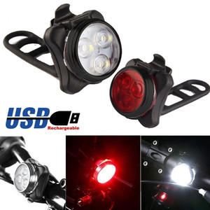 High Quality Bright Cycling Bicycle Bike 3 Led Head Front Light 4 Modes Usb Rechargeable Tail Clip Light Lamp Waterproof