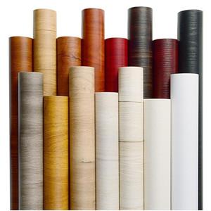 Auto adhesivo madera grano papel tapiz negro gris rojo pelada y palo muebles de pvc renovación fondos de pantalla impermeable J1051