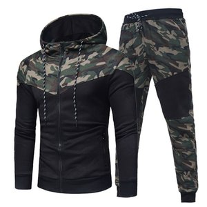 Mens Camouflage Patchwork Hoodies Sets Male Zipper Jacket+Pants 2PC Tracksuit Sportwear Autumn Jogging Brand Suit Plus Size 1004