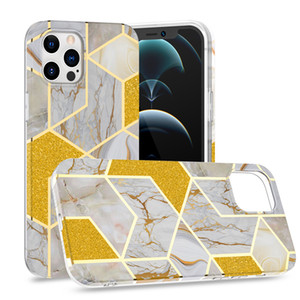 Newest bling Geometric Marble Texture Splice Phone Case For iPhone 11 12 Pro Max Mini 7 8 Plus X XS XR SE 2020