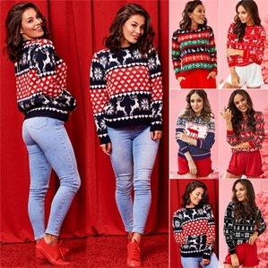 Womens Christmas Sweatshirt Knit Elk Snowflakes Sweater Hoodie Pullover Tops Cloth T-shirt Autumn women s clothes boutique E101902