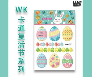 11*7.5cm Easter Egg tattoo stickers Waterproof temporary fake rabbit bunny cartoon kids children body art make up tools 14 styles