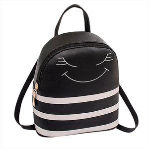 Smiling Face Small Backpack 2019 New Shoulder Mobile Phone Cute Women Backpack Purse Mini stripe Backpacks