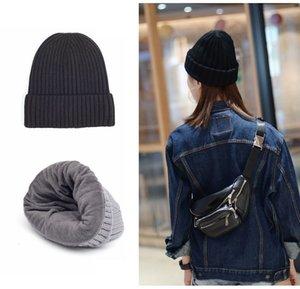 Lana lavorato a maglia Cappellino invernale Warm Cappello Con marea e velluto spesso cappello caldo degli uomini di colore solido delle e Baotou Cap T3I51211 delle donne