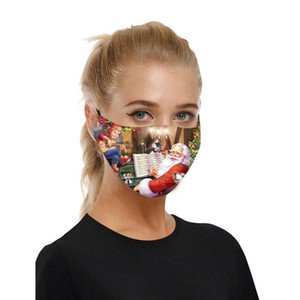 Reusable Mask Christmas Printed Adjustable Washable Dustproof Face Mask Protection Breathable Outdoor Unisex Mascarilla In Stock qylijF