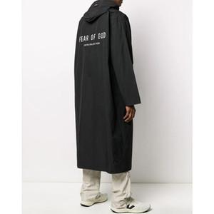 La crainte de Dieu 6 nylon Capuche Veste de pluie FOG capuche imperméable noir Casual surdimensionnée Veste longue Hommes Femmes Outdoor Hiphop Streetwear