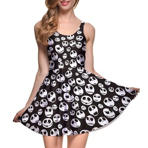Girls Halloween Jack Skellington Nightmare Before Christmas Sleeveless Skater Pleated Dress Elastic Fitness clothes