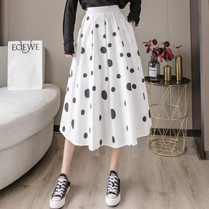 Make skirts women in early autumn new white a word skirt of tall waist show thin wave point package buttocks long skirt