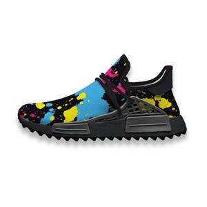 Custom Running Shoes Cartoon Graffiti Blue Yellow Human Race NMD Trail Mens casual Sneakers lightweight