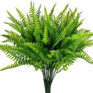 8PCS Artificial Boston Fern Plants Bushes Artificial Shrubs Greenery for House Plastic Garden Office Garden Decor