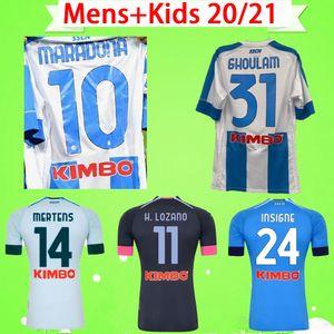 # 10 Maradona 2020 2021 Napoli Soccer Jerseys Home Away Третья футбольная футболка Naples 20 21 MANOLAS INSIGNE LOZANO CALLEJÓN MILIK Mens Kids Kit