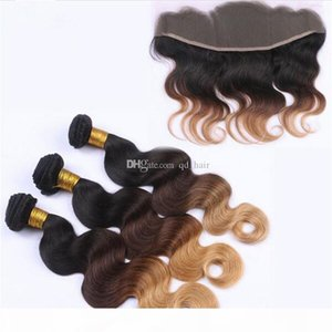 Dark Root #1B 4 27 Body Wave Hair Bundles With Lace Frontal 13x4 Ear To Ear Lace Frontal With Honey Blonde Hair Extensions