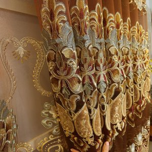 European Royal Luxury Gold Curtains Enbroidered Curtains for Living Dining Room Bedroom Sheer Voile for Home Decoration