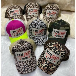 Trump Ponytail Cap Leopard Trump 2020 Letter Printed Summer Fashion Messy Bun Baseball Hats Party Hat Festive Party Supplies EEC2757