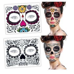 Durando fácil de remover o açúcar longa exclusiva crânio temporário design floral rosto adesivo festa máscaras