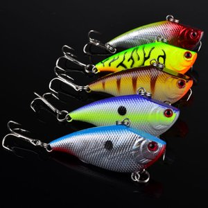 1pc 5 Colors Mixed 3D Eyes VIB Plastic Hard Baits & Lures 5.5cm 7.36g 6# Fishing Hooks LW_129