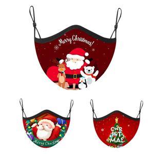 Free shipping new Christmas fashion red adult child mask Christmas print dustproof breathable adjustable mask anti-fog reusable mask