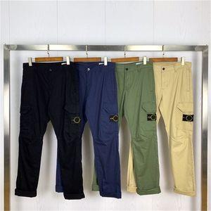 أعلى جودة البوصلة شارة التطريز البضائع المرأة العسكرية مستقيم السراويل متعددة جيب عارضة سراويل القطن الرجال Y201123