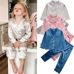 Детская Детская пижама шелковый атлас Tops Pant Осень Зима с длинным рукавом пижамы пижамы Девочка Мальчик Pajama наборы