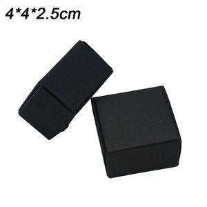 4x4x2.5cm Mini Black Kraft Paper Carton Paperboard Box Jewelry Earring Rings Display Package Cardboard Boxes Wholesale 50pcs lot