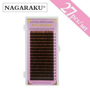 NAGARAKU 27 cases wholesale light brown color 16rows,brown color eyelash extension,Mink Eyebrow Extensions