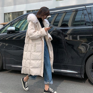 Winter True Fur Colla Down Cotton Jackets Women's Long Parkas Slim Hooded Warm Winter Coats Female Plus Size Black Overcoats
