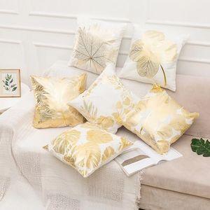 New Gilded geometric leaf pillow cover simple creative office sofa cushion