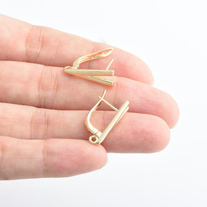 Gold 24K Zubehör Zubehör-Entdeckungen für Frau DIY handgemachte Herstellung Ohrring-Haken-Komponenten Schmuck Großhandel