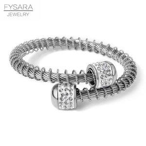 Cable Bracciale Donne Fysara regolabile braccialetto dell'acciaio inossidabile di modo del filo Wristband elastico Filo fascino Amante Gioielli bbyheB