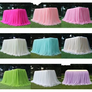 Snow Yarn Table Skirt Wedding Birthday Cake Check In Desk Solid Color Dessert Tables Cover Curtain Surround Grey Tablecloth New 30ld M2